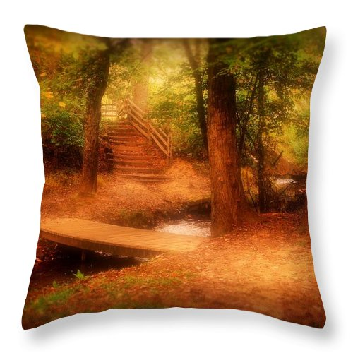 Nature Landscapes Throw Pillow featuring the photograph Enchanted Path - Allaire State Park by Angie Tirado