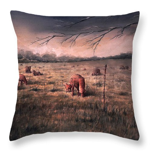 Landscape Throw Pillow featuring the painting A childhood by William Russell Nowicki