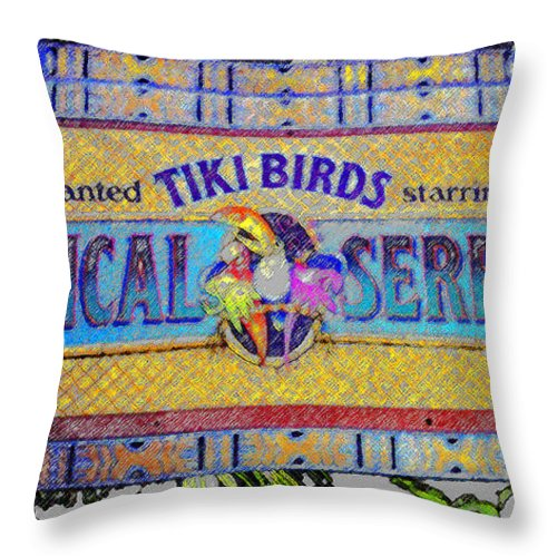 Art Throw Pillow featuring the painting Enchanted Tiki Birds by David Lee Thompson