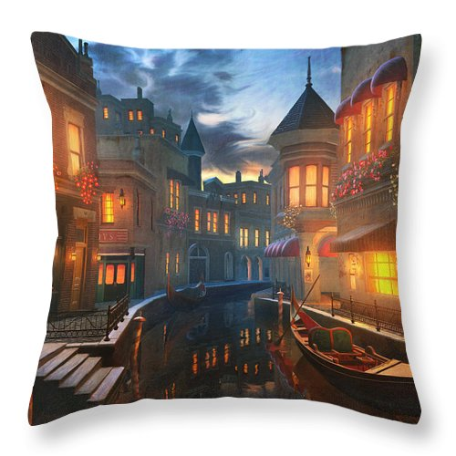 Venice Throw Pillow featuring the painting Enchanted Waters by Joel Payne