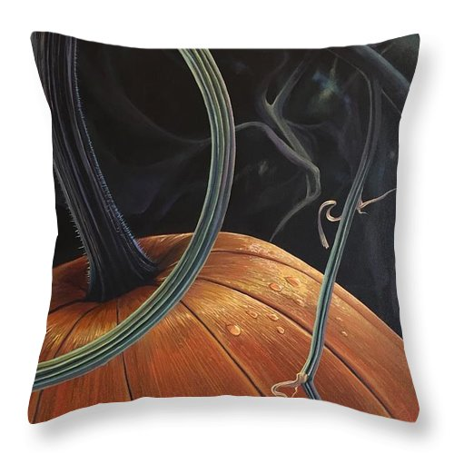 Pumpkin Throw Pillow featuring the painting Enchantment by Hunter Jay