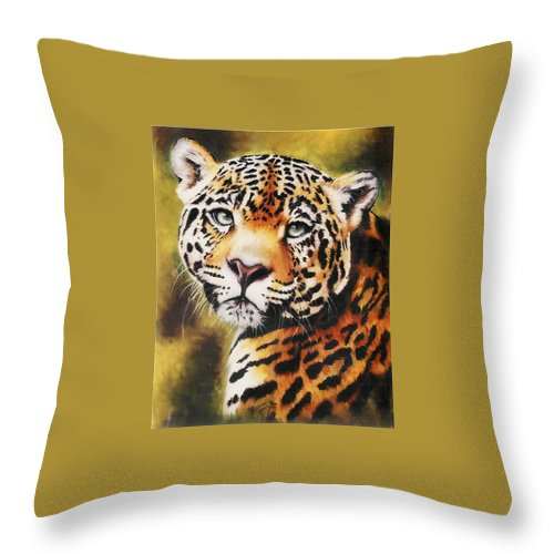 Jaguar Throw Pillow featuring the pastel Enchantress by Barbara Keith