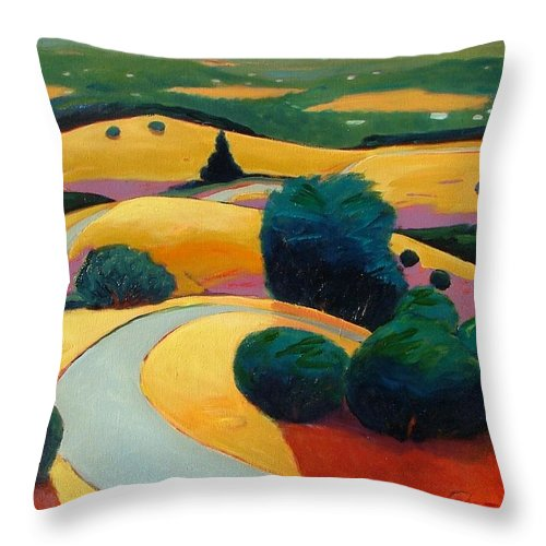 Rolling Hills Throw Pillow featuring the painting End In Sight by Gary Coleman