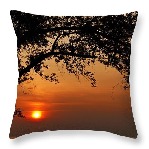 Sunset Throw Pillow featuring the photograph End Of A Day - 1 by Hany J