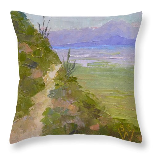 Landscape Painting Throw Pillow featuring the painting End Of Day At Gates Pass by Susan Woodward