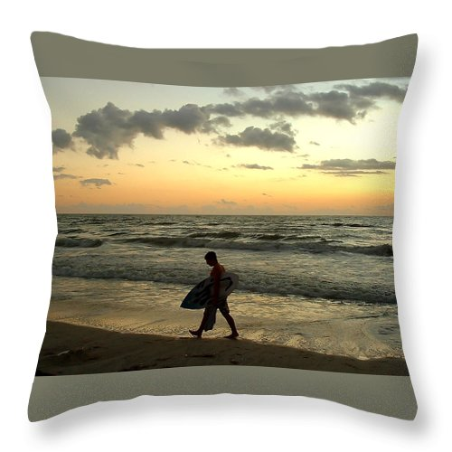 Beach Throw Pillow featuring the photograph End Of Day by Peg Urban