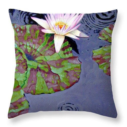 Water Lily Throw Pillow featuring the painting End Of Shower by John Lautermilch