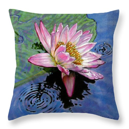 Water Lily Throw Pillow featuring the painting End Of Summer Shower by John Lautermilch