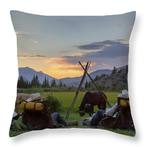 Cowboys Throw Pillow featuring the photograph End Of The Day by Jack Bell