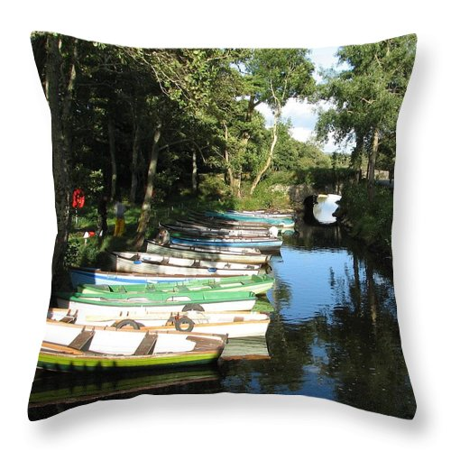 Boat Throw Pillow featuring the photograph End Of The Day by Kelly Mezzapelle