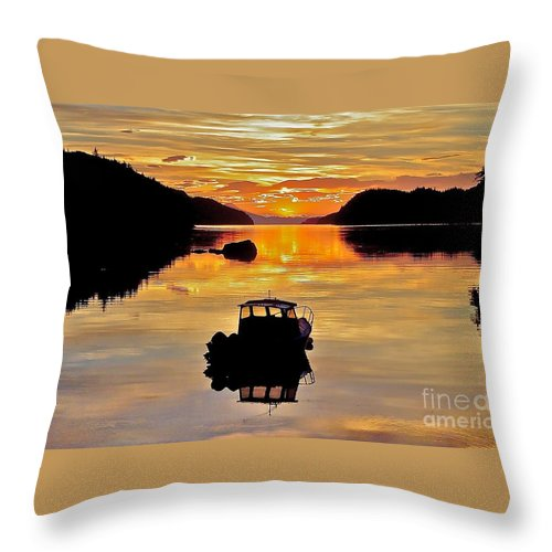 Boat Throw Pillow featuring the photograph End Of The Day by Rick Monyahan
