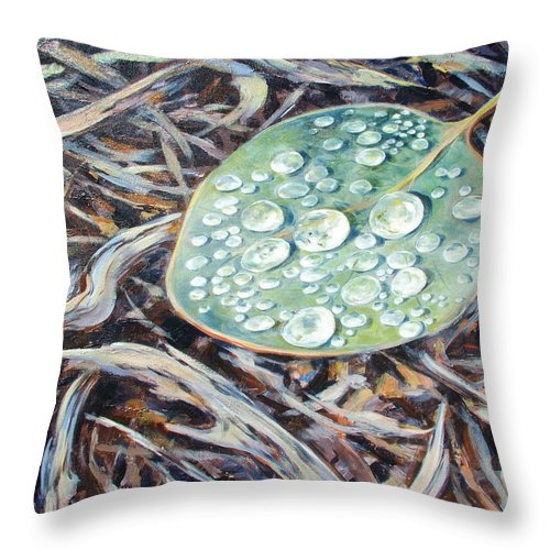 Ekaterina Mortensen Throw Pillow featuring the painting End Of The Drought by Ekaterina Mortensen
