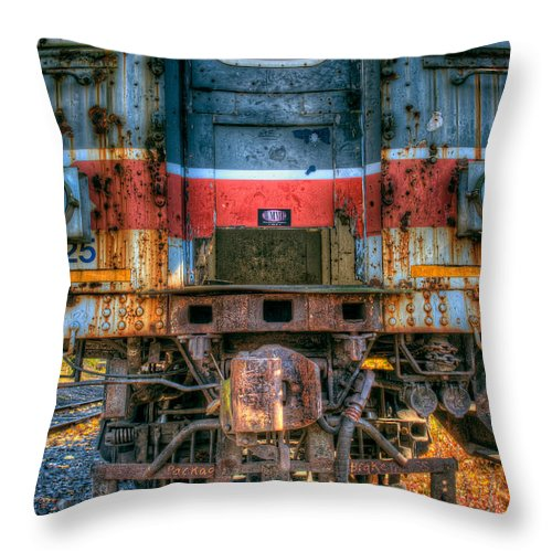 Train Throw Pillow featuring the photograph End Of The Line by William Jobes