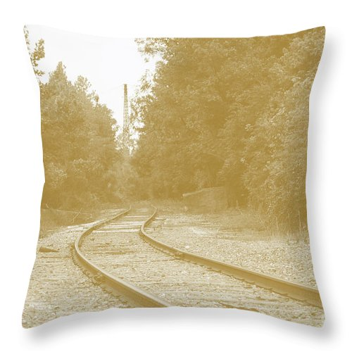 Rail Throw Pillow featuring the photograph End Of The Rail-sepia by Jost Houk
