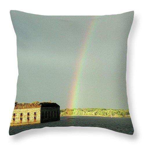 Rainbow Throw Pillow featuring the photograph End Of The Rainbow by Faith Harron Boudreau
