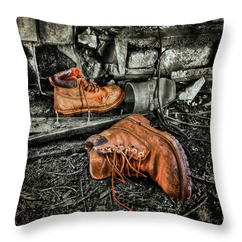 Boot Throw Pillow featuring the photograph End Of The Road by Evelina Kremsdorf