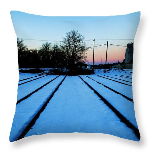 Sunset Throw Pillow featuring the photograph End Of The Tracks by Angus Hooper Iii
