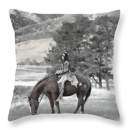 Native American Throw Pillow featuring the photograph End Of The Trail by Samantha Burrow