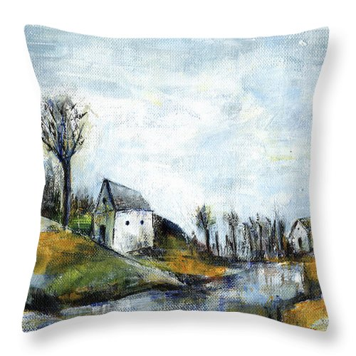 Landscape Throw Pillow featuring the painting End of winter - acrylic landscape painting on cotton canvas by Aniko Hencz