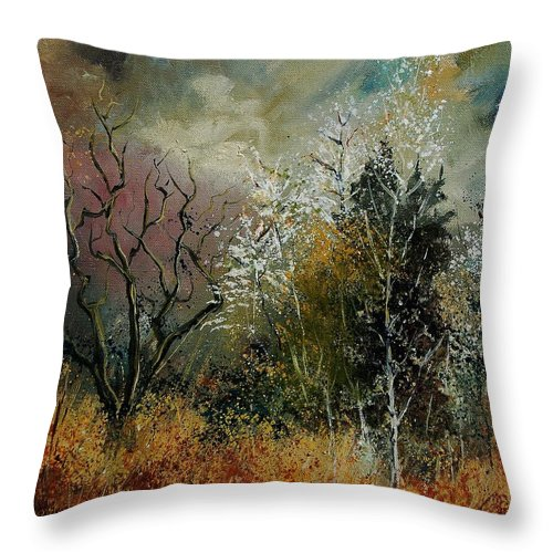 River Throw Pillow featuring the painting End Of Winter by Pol Ledent