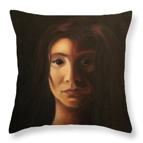 Woman In The Dark Throw Pillow featuring the painting Endure by Toni Berry