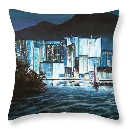 City Throw Pillow featuring the painting Energetic Blue by Mona Davis