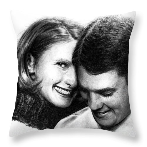 Portrait Throw Pillow featuring the drawing Engaged by Rachel Christine Nowicki