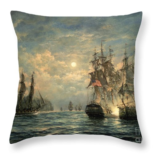 American War Of Independence Throw Pillow featuring the painting Engagement Between The 'bonhomme Richard' And The ' Serapis' Off Flamborough Head by Richard Willis
