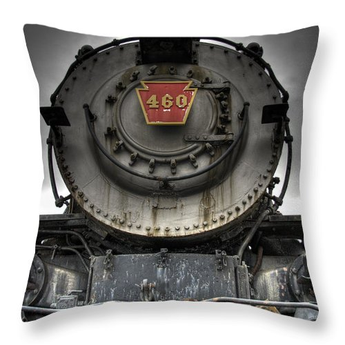 Hdr Throw Pillow featuring the photograph Engine 460 Front And Center by Scott Wyatt