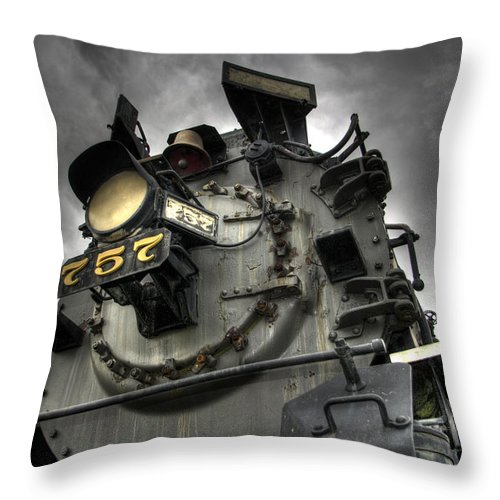 Hdr Throw Pillow featuring the photograph Engine 757 by Scott Wyatt