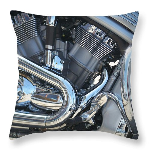 Motorcycle Throw Pillow featuring the photograph Engine Close-up 1 by Anita Burgermeister