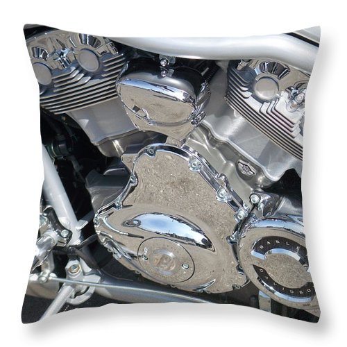 Motorcycle Throw Pillow featuring the photograph Engine Close-up 2 by Anita Burgermeister