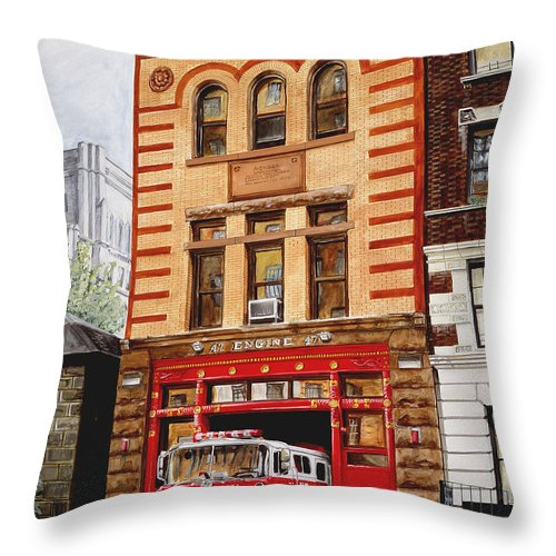 Firehouse Throw Pillow featuring the painting Engine Company 47 by Paul Walsh