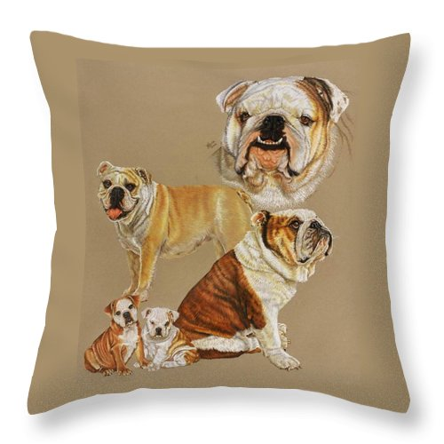 Purebred Throw Pillow featuring the drawing English Bulldog by Barbara Keith