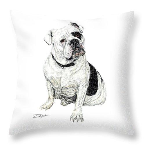 Bulldog Throw Pillow featuring the drawing English Bulldog by Dan Pearce