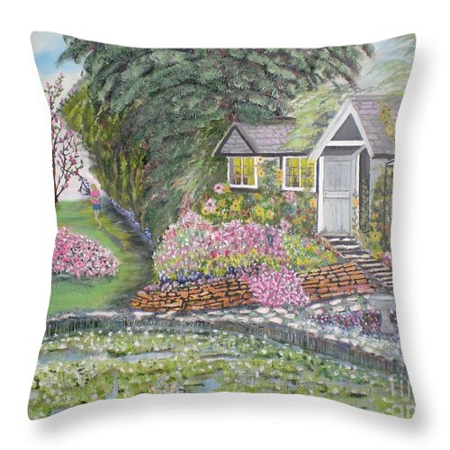 Cottage Throw Pillow featuring the painting English Cottage by Hal Newhouser