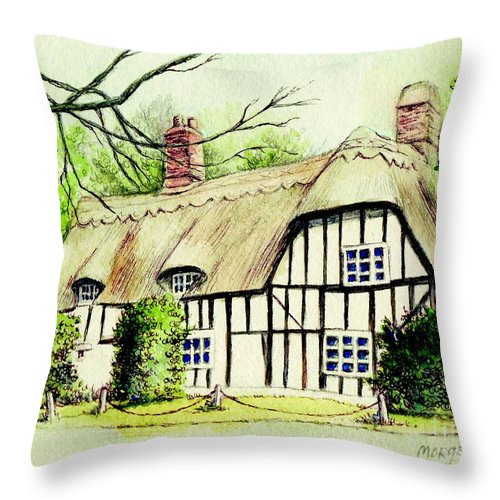 Cambidgeshire Throw Pillow featuring the painting English Cottage In Cambridgshire by Morgan Fitzsimons