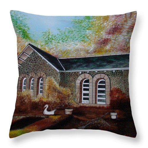 Autmn Throw Pillow featuring the painting English Cottage In The Autumn by Glory Fraulein Wolfe