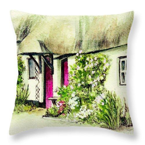 English Throw Pillow featuring the painting English Country Cottage Series by Morgan Fitzsimons