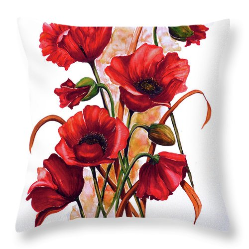 Red Poppies Paintings Floral Paintings Botanical Paintings Flower Paintings Poppy Paintings Field Poppy Painting Greeting Card Paintings Poster Print Painting Canvas Print Painting  Throw Pillow featuring the painting English Poppies 2 by Karin Dawn Kelshall- Best