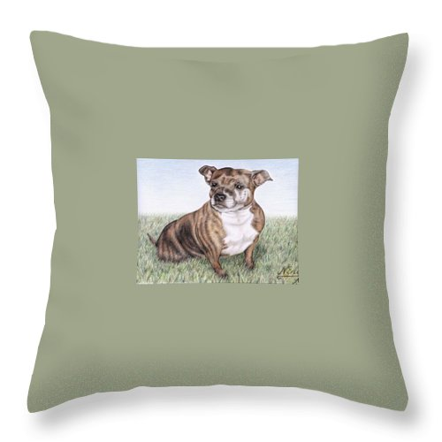 Dog Throw Pillow featuring the drawing English Staffordshire Terrier by Nicole Zeug