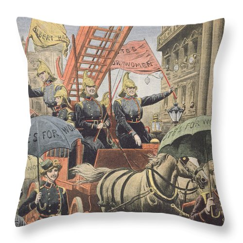 The Suffragettes Throw Pillow featuring the drawing English Suffragettes Dressed As Firemen by French School