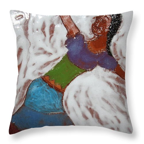 Jesus Throw Pillow featuring the ceramic art Enid - Tile by Gloria Ssali