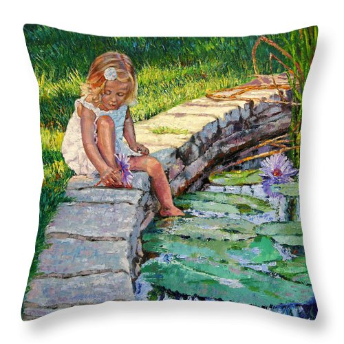 Small Girl Throw Pillow featuring the painting Enjoying Yesterdays Sunlight by John Lautermilch