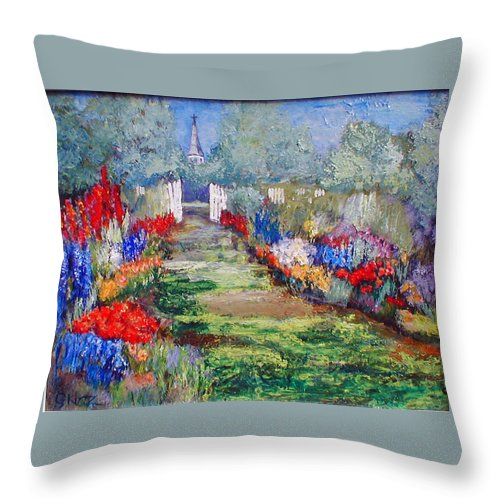 Landscape Throw Pillow featuring the painting Enter His Gates by Gail Kirtz
