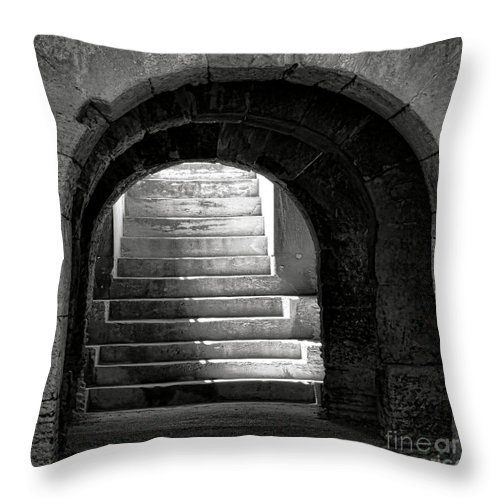 Arles Throw Pillow featuring the photograph Enter The Arena by Olivier Le Queinec