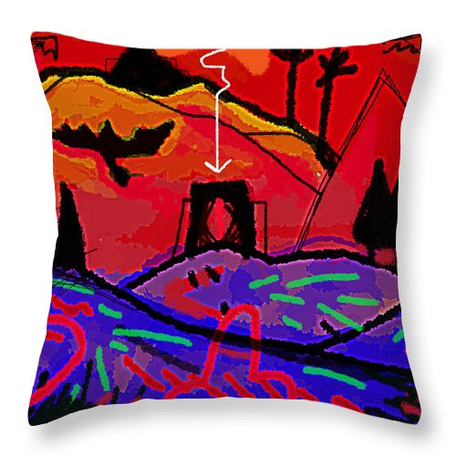 Artemis Throw Pillow featuring the drawing entering the gate of Artemis by Paul Sutcliffe