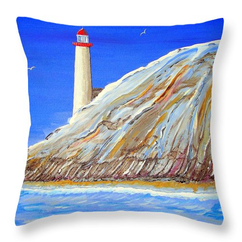 Lighthouse Throw Pillow featuring the painting Entering The Harbor by J R Seymour