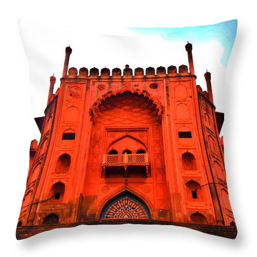Architecture Throw Pillow featuring the photograph #Entrance Gate by Aakash Pandit