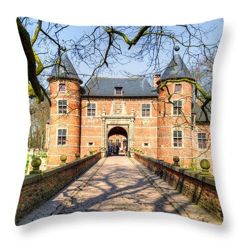 Bijgaarden Throw Pillow featuring the photograph Entrance To The Castle, Belgium by Sinisa CIGLENECKI